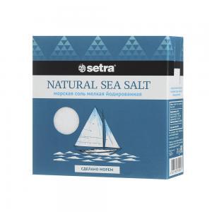 Соль морская пищевая мелкая йодированная, SETRA (500 г)